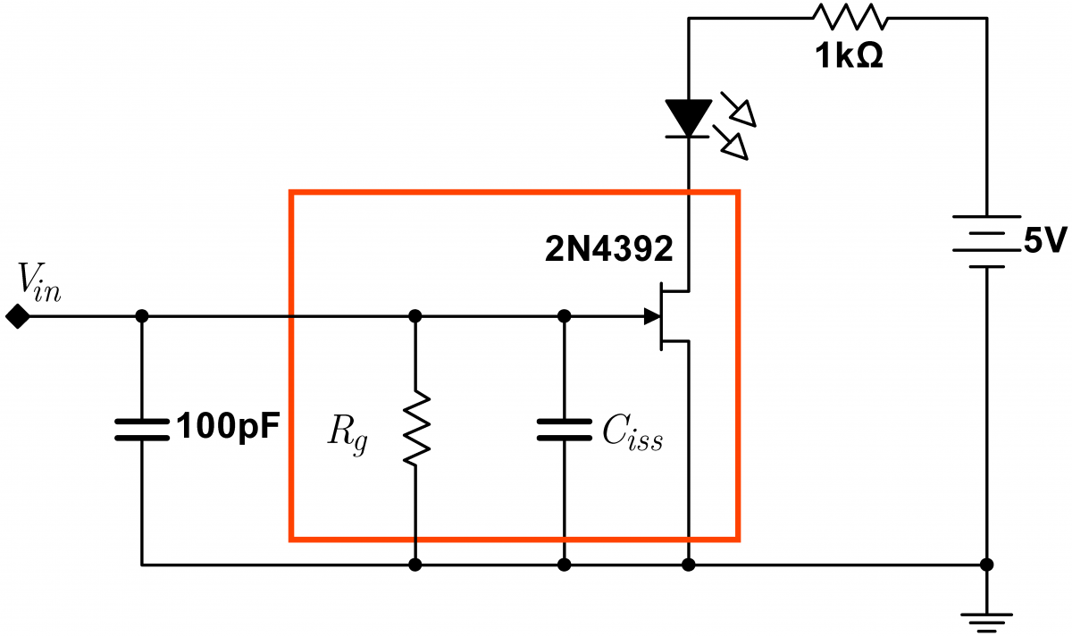 Lab 4 Jfet Circuits I Instrumentation Amplifier Circuit Diagram Led Switch With Parasitics And Cap