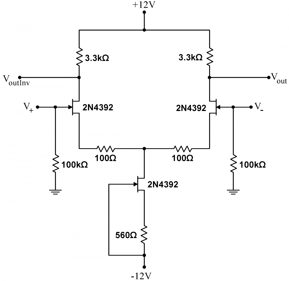 Lab 5 Jfet Circuits Ii Instrumentation Common Source Amplifier Circuit Differential Amp Improved